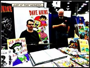 Dave Aikins & Tom Cook. Aikins is an illustrator for Spongebob & Dora the Explorer. Cook was an illustrator for He-Man, She-Ra, Scooby-doo, the Smurfs, etc. etc.